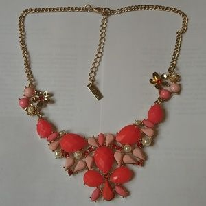 Facted stone and pearl statement necklace